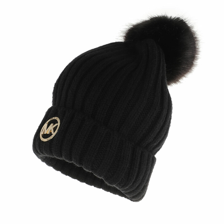 Mütze, MICHAEL Michael Kors, MK Patch Rib Beanie Black Gold