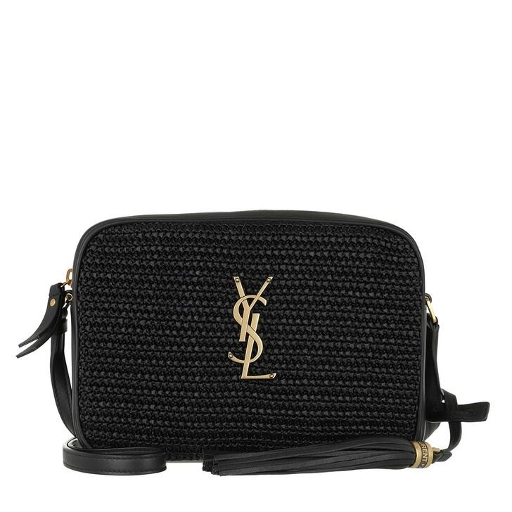 bags, Saint Laurent, Lou Camera Bag Raffia Leather Black