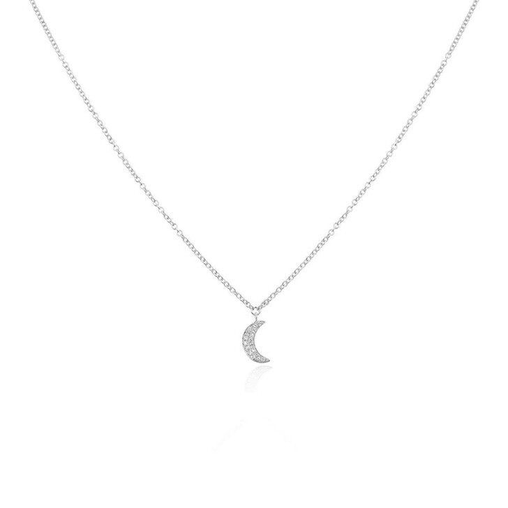 Kette, Leaf, Necklace Crescent Moon White Gold