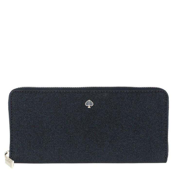 Geldbörse, Kate Spade New York, Burgess Court Slim Continental Wallet Lakeshore Blue Glitter
