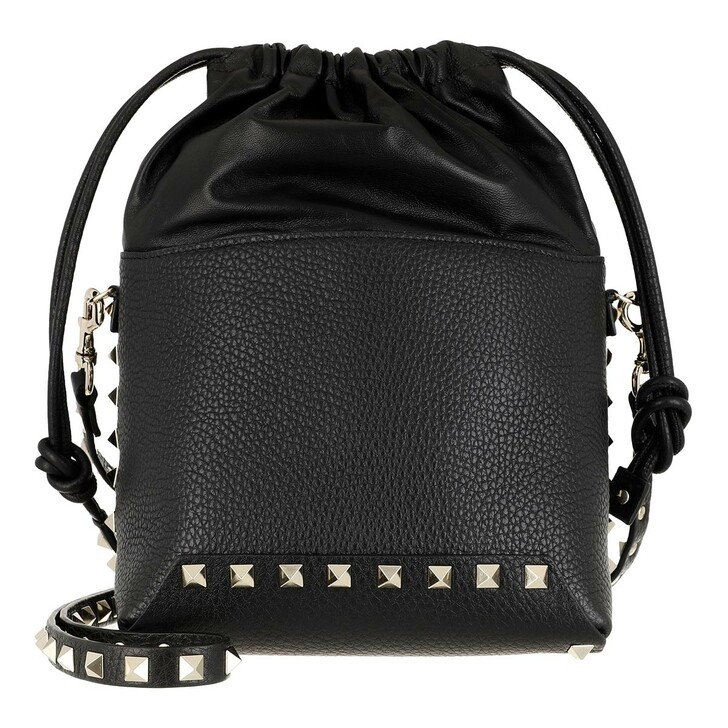 bags, Valentino Garavani, Mini Bucket Bag Leather Black
