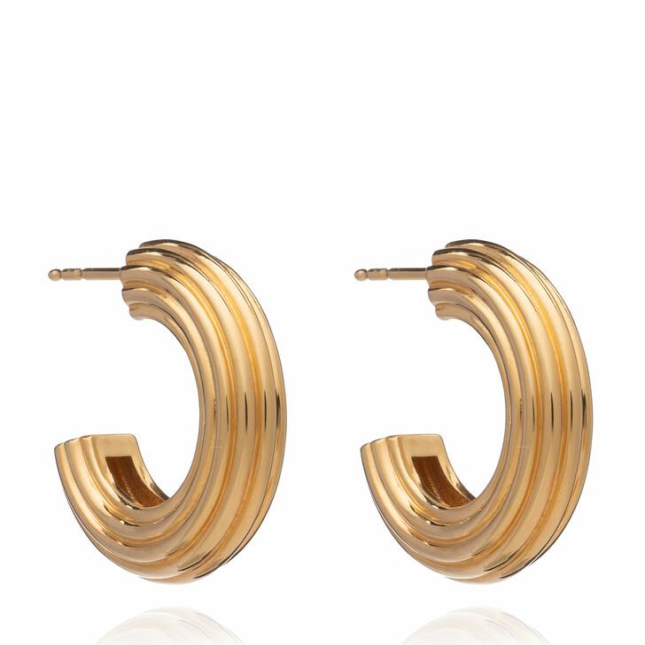 Ohrring, Rachel Jackson London, Chunky Ridged Gold Hoop Earrings Gold