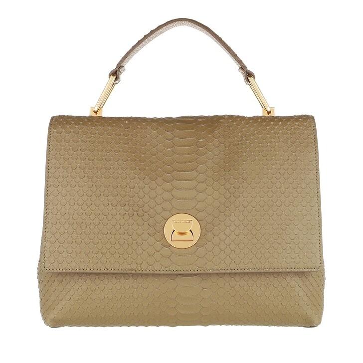Handtasche, Coccinelle, Liya Python Lulula Satchel Moss Green
