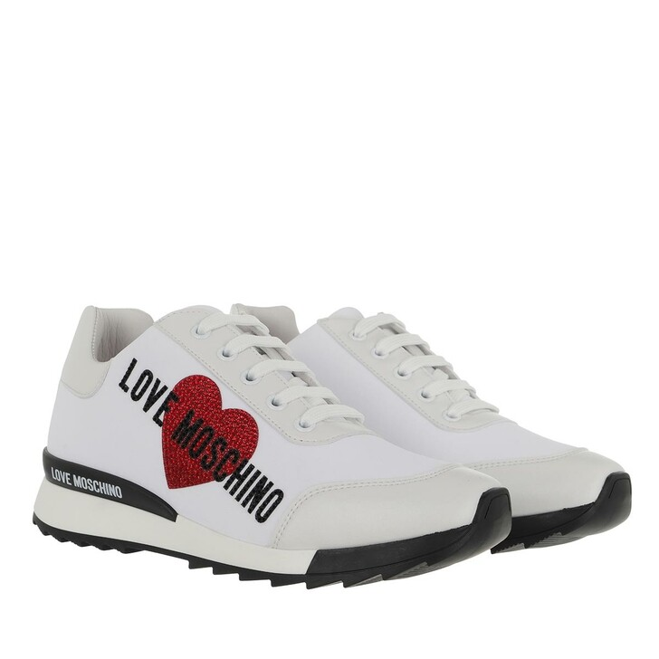 shoes, Love Moschino, Sneakerd Running25 Lycra+Vit  Bianco