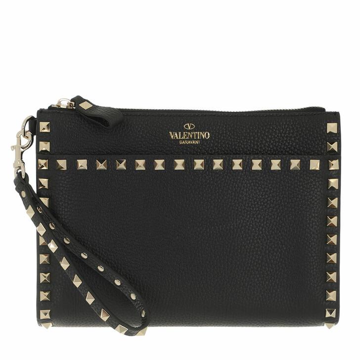 bags, Valentino Garavani, Medium Flat Pouch Black