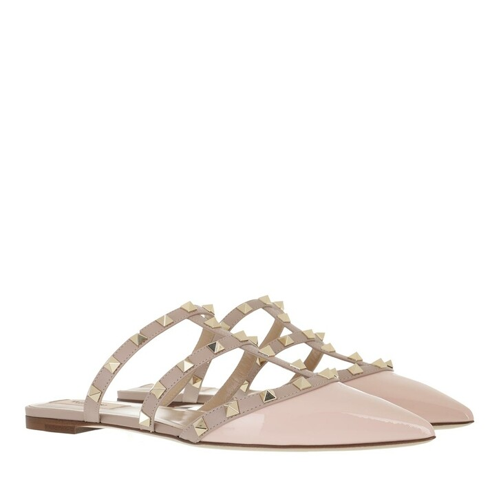 shoes, Valentino Garavani, Rockstud Mules Patent Leather Rose Quartz Poudre