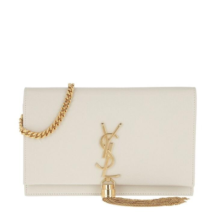 bags, Saint Laurent, Kate Monogramme Chain Clutch Crema Soft