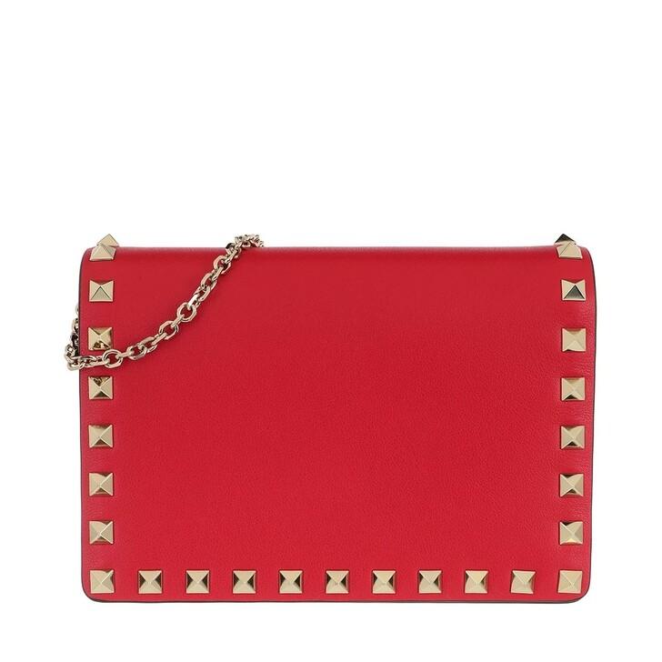 Handtasche, Valentino Garavani, Rockstud Chain Leather Shoulder Bag Red