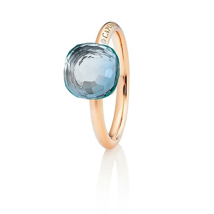 Ring, Capolavoro, Ring Happy Holi Topas Sky Blue Cabochon Rosegold