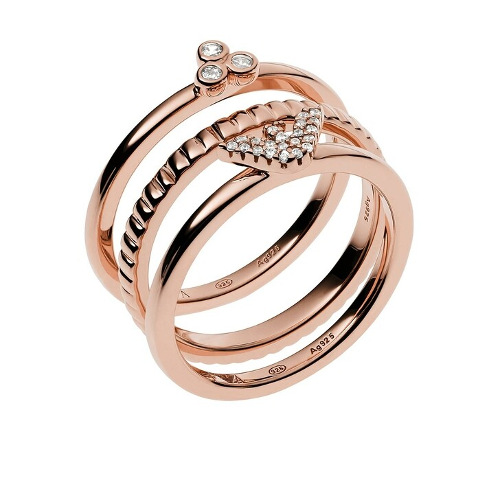 Ring, Emporio Armani, Sterling Silver Stacker Ring Set Roségold