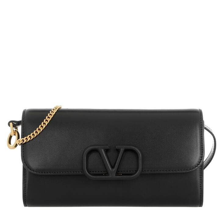 Handtasche, Valentino Garavani, V Sling Clutch Leather Black