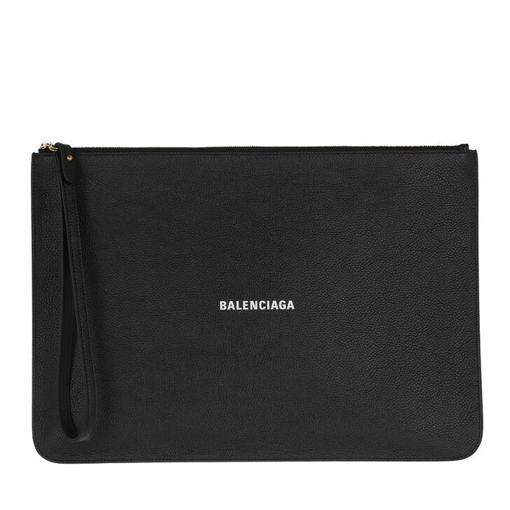 Handtasche, Balenciaga, Logo Clutch Leather Black White