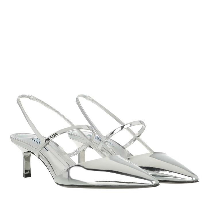 Schuh, Prada, High Slingbacks Leather Silver