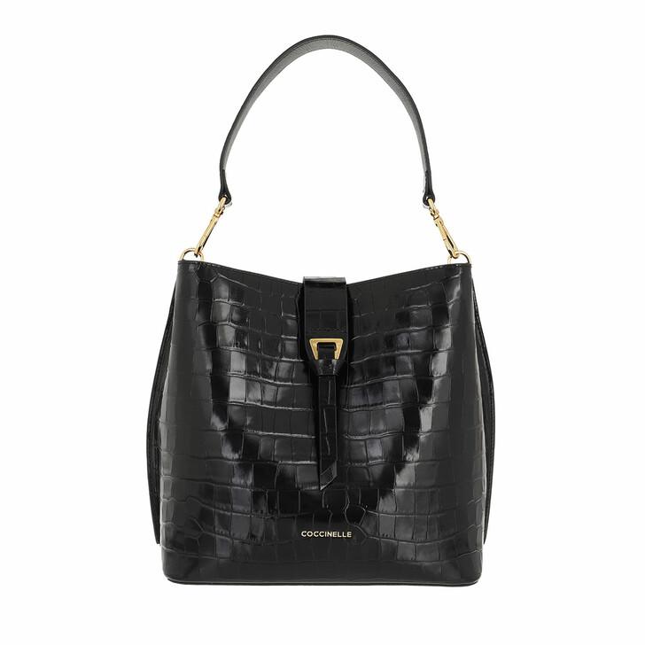 bags, Coccinelle, Alba Croco Shiny Soft Handbag Noir