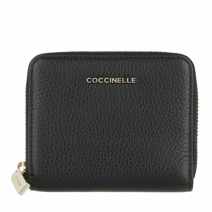 wallets, Coccinelle, Metallic Soft Wallet Grainy Leather Noir
