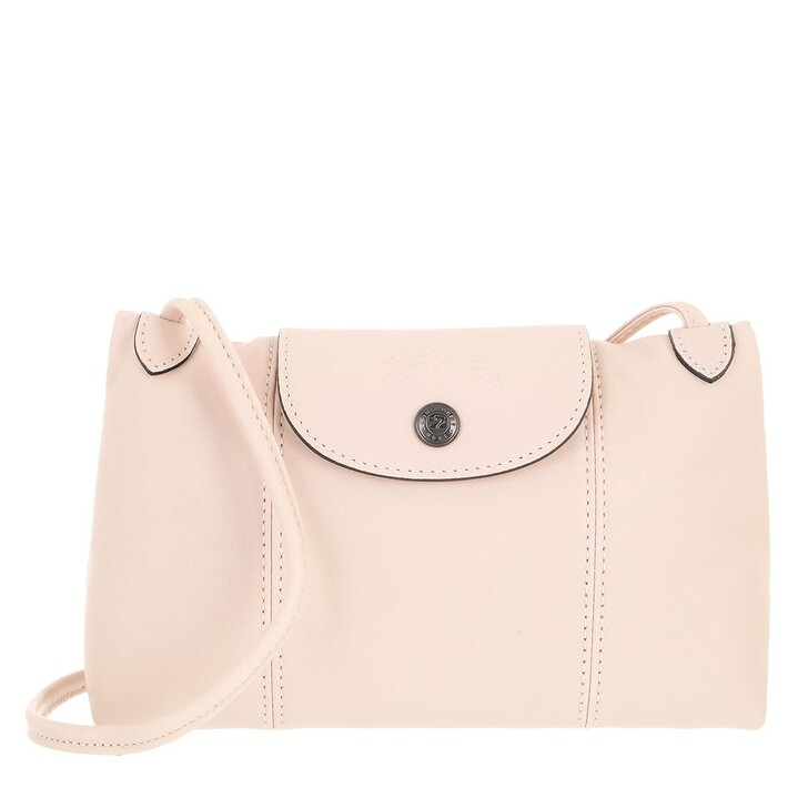 bags, Longchamp, Le Pliage Cuir Crossbody Light Pink