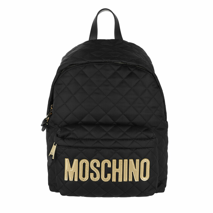 bags, Moschino, Quilted Logo Backpack Black