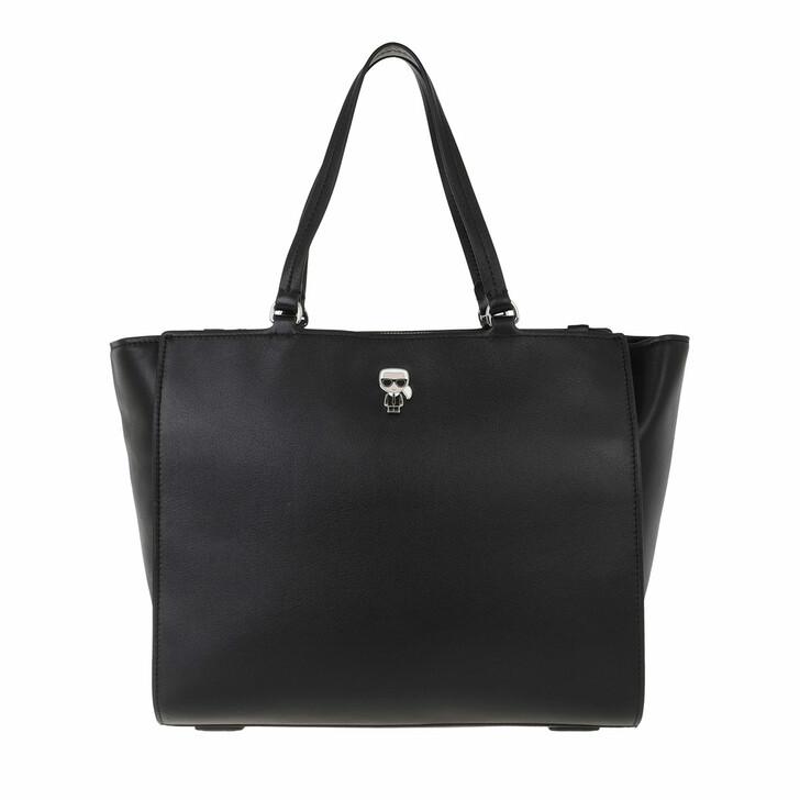 bags, Karl Lagerfeld, K/Ikonik Leather Tote Black
