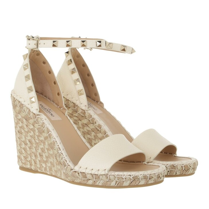 shoes, Valentino Garavani, Rockstud Wedge Sandals Light Ivory