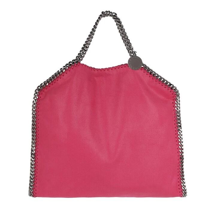 Handtasche, Stella McCartney, Falabella Shaggy Deer Foldover Tote Cognac Fluo Pink