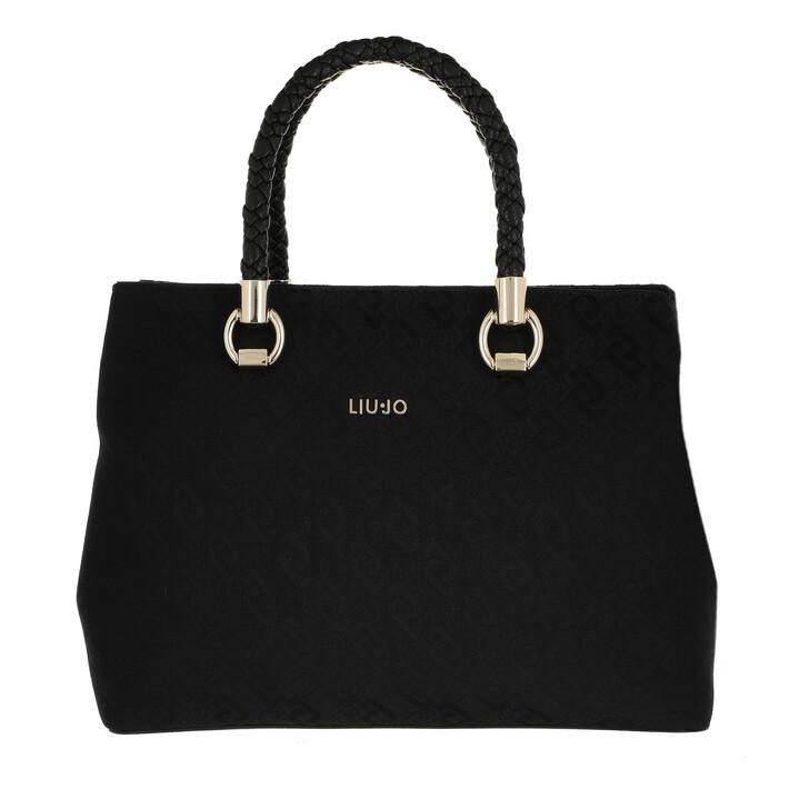 bags, LIU JO, L Satchel Double Zip Black