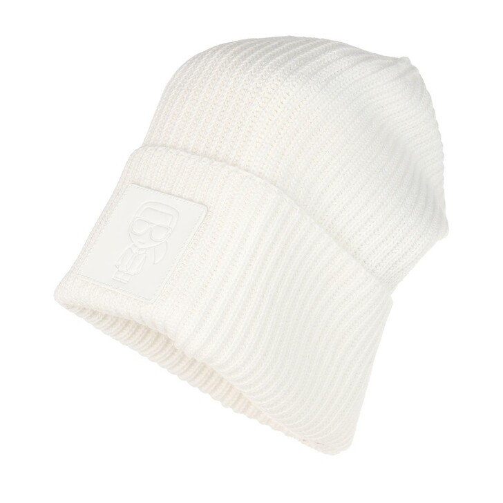 scarves, Karl Lagerfeld, Ikonik Patch Beanie Off White