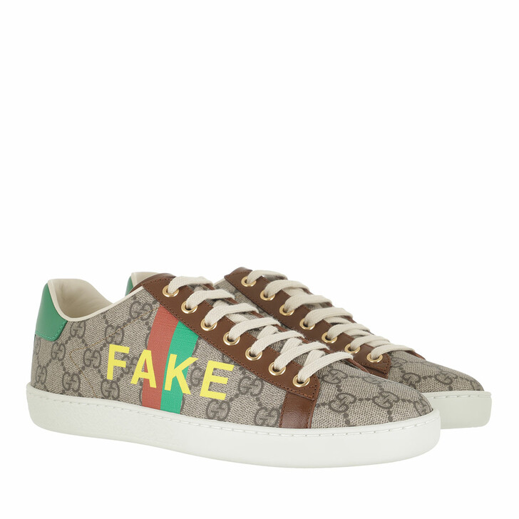 Schuh, Gucci, Ace Not Fake Sneaker Beige Brown