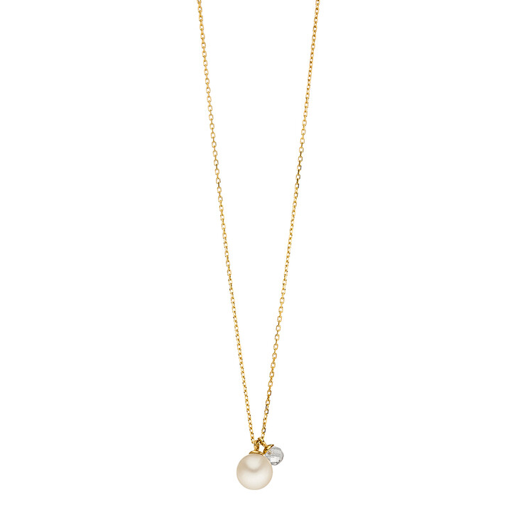 Kette, Leaf, Necklace 2 Drops Silver Gold-Plated