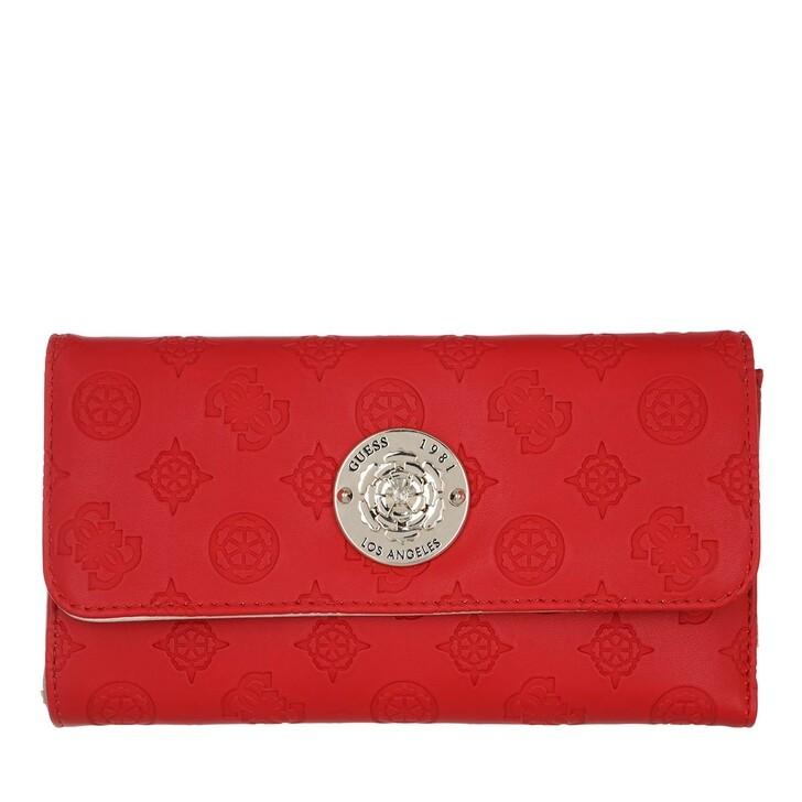 Geldbörse, Guess, Dayane Pocket Trifold Wallet Red