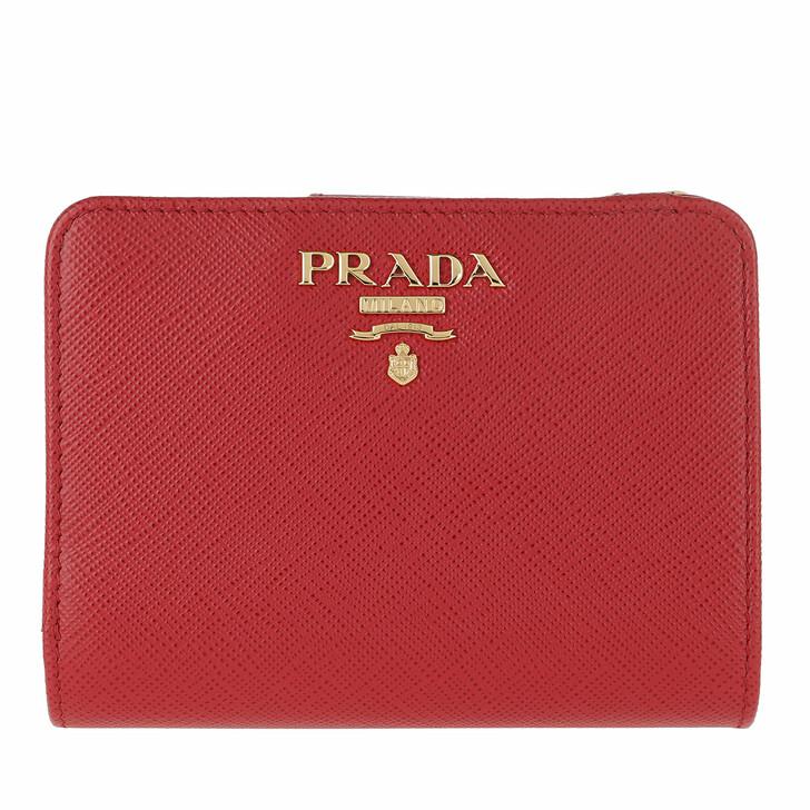 Geldbörse, Prada, Small Wallet Saffiano Leather Fuoco
