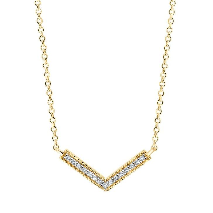 necklaces, Pukka Berlin, Freya V Diamond Necklace Yellow Gold