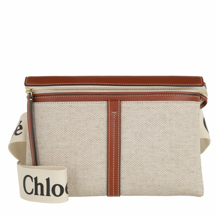 bags, Chloé, Small Woody Shoulder Bag White/Brown