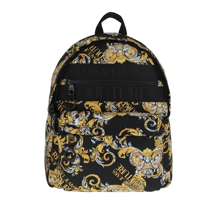 Handtasche, Versace Jeans Couture, Men Macrologo Backpack Black/Gold