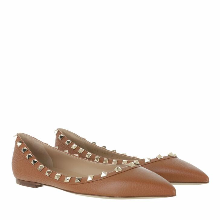 shoes, Valentino Garavani, Rockstud Grained Leather Ballerina Selleria