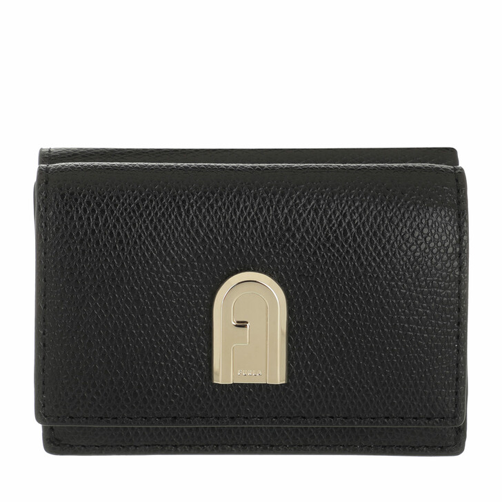 wallets, Furla, Furla 1927 S Compact Wallet Trifold - Ares Nero