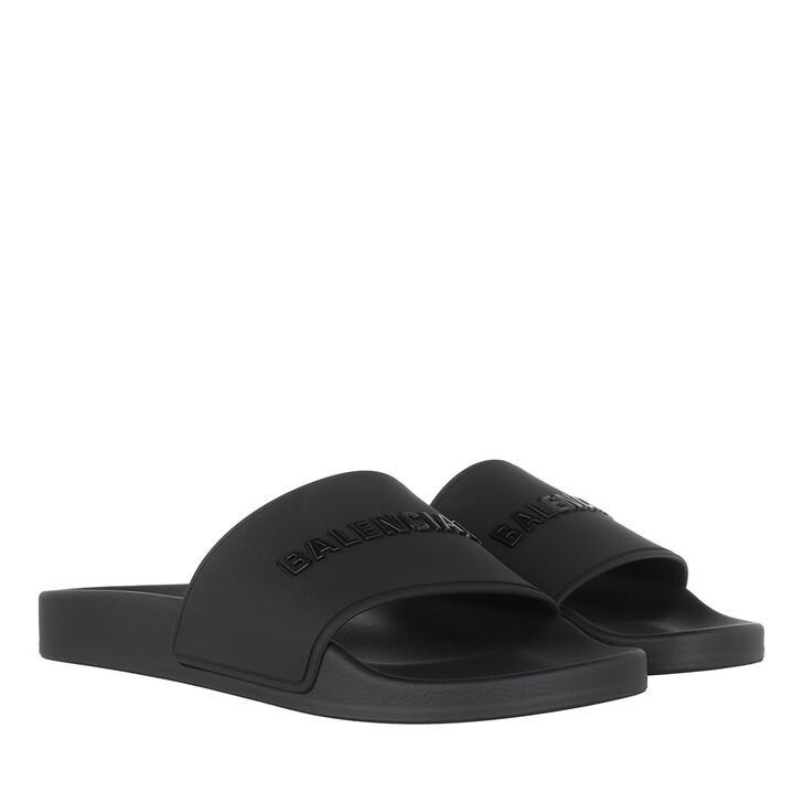 shoes, Balenciaga, Slide Logo Sandals Black