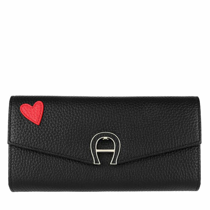 wallets, AIGNER, Fashion Heart Wallet Large Black