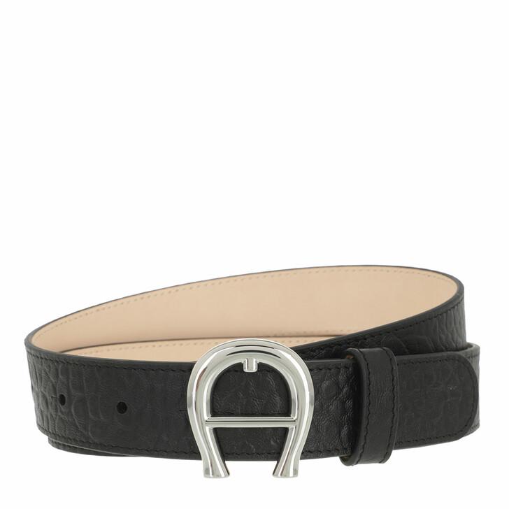belts, AIGNER, Logo Belt 2 cm Black