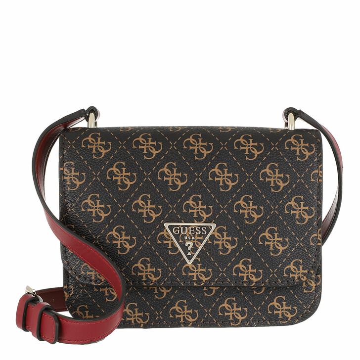 Handtasche, Guess, Noelle Mini Crossbody Flap Brown