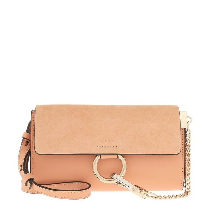 Handtasche, Chloé, Faye Wallet On Strap Suede Milky Orange