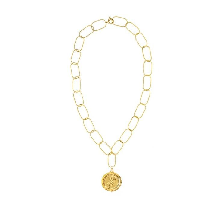 Kette, Hermina Athens, Amathea Statement Necklace Yellow Gold