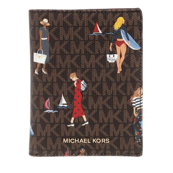 Geldbörse, MICHAEL Michael Kors, Bedford Travel Passport Multifunction Wallet Brown Multi