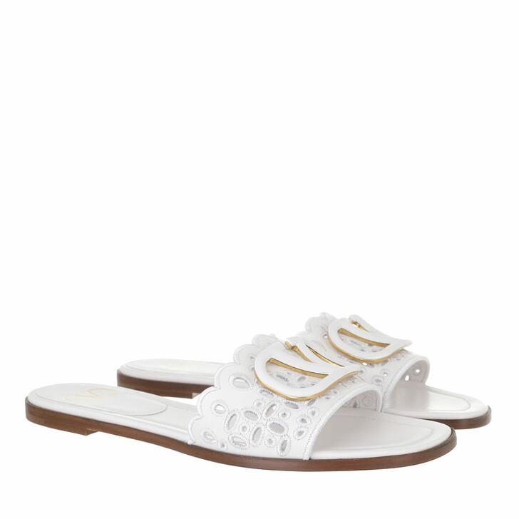 shoes, Valentino Garavani, Signature VLogo Flat Sandals White