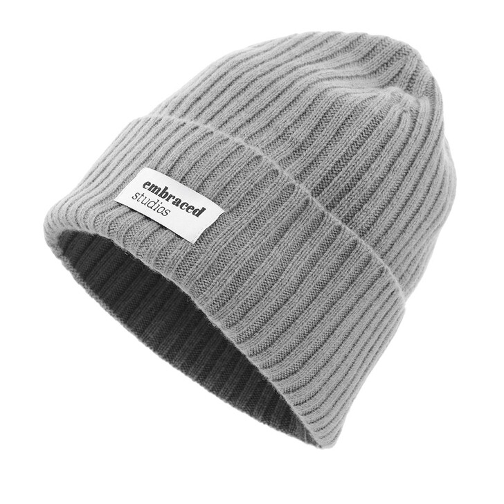 hats, Embraced Studios, Wool-Cashmere Ribbed Hat Grey