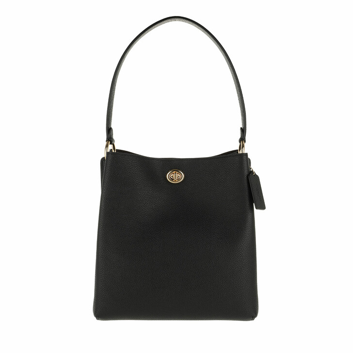 Handtasche, Coach, Polished Pebble Leather Charlie Bucket Bag Black