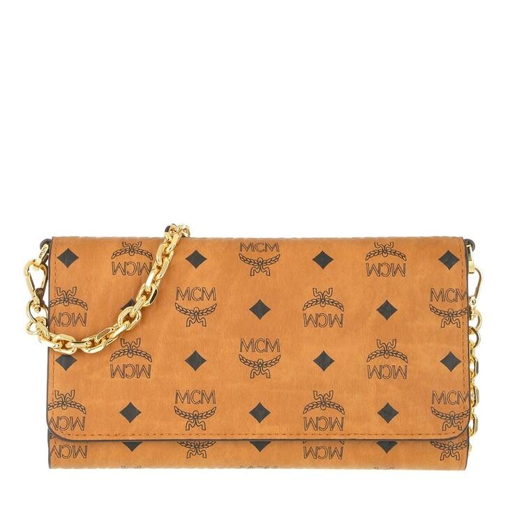 Geldbörse, MCM, Visetos Original Phone Wallet Crossbody Bag Cognac