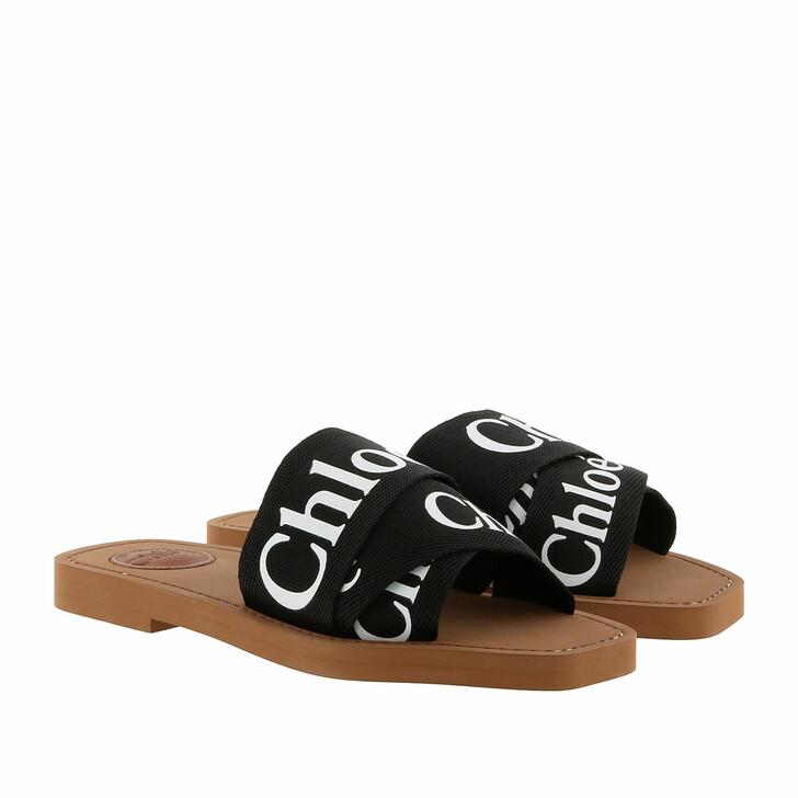 shoes, Chloé, Chloé Canvas Logo Sandals Black