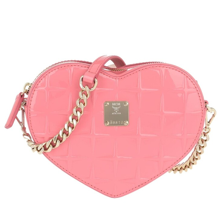 Handtasche, MCM, Patricia Diamond Patent Crossbody Bag Salmon Rose