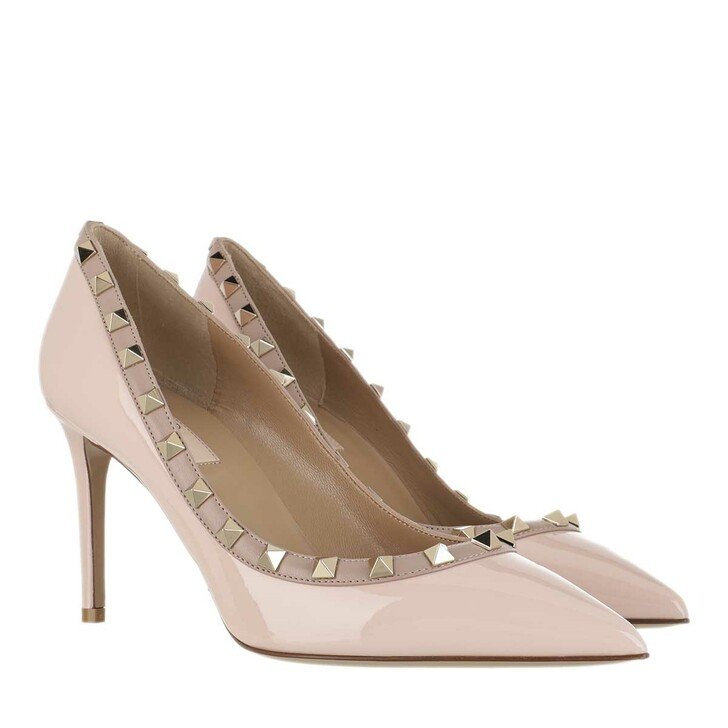 Schuh, Valentino, Rockstud Pumps Patent Leather Nero Poudre Rose Quartz Poudre