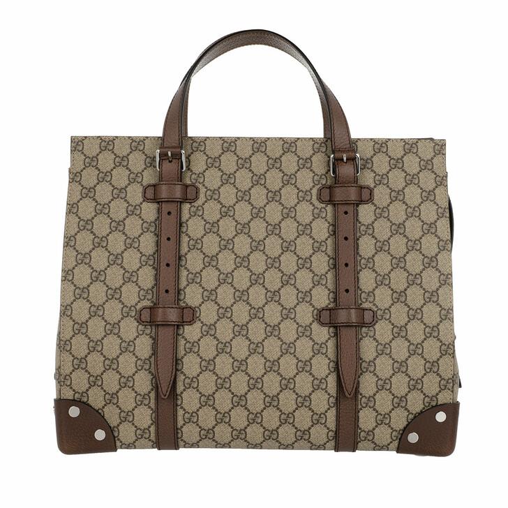 Handtasche, Gucci, GG Details Tote Bag Beige Ebony